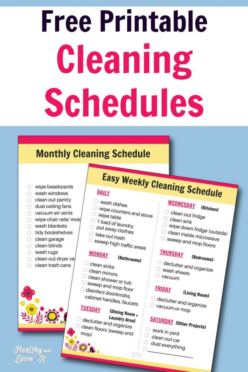 007 Shocking Free Printable Weekly Cleaning Schedule Template Highest Quality  Excel Customizable