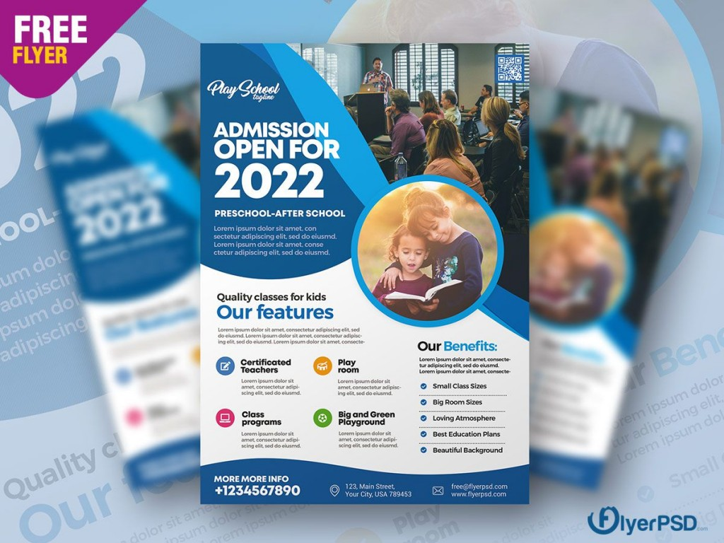 007 Shocking Free School Flyer Template Psd Highest Clarity  Brochure Download Back ToLarge