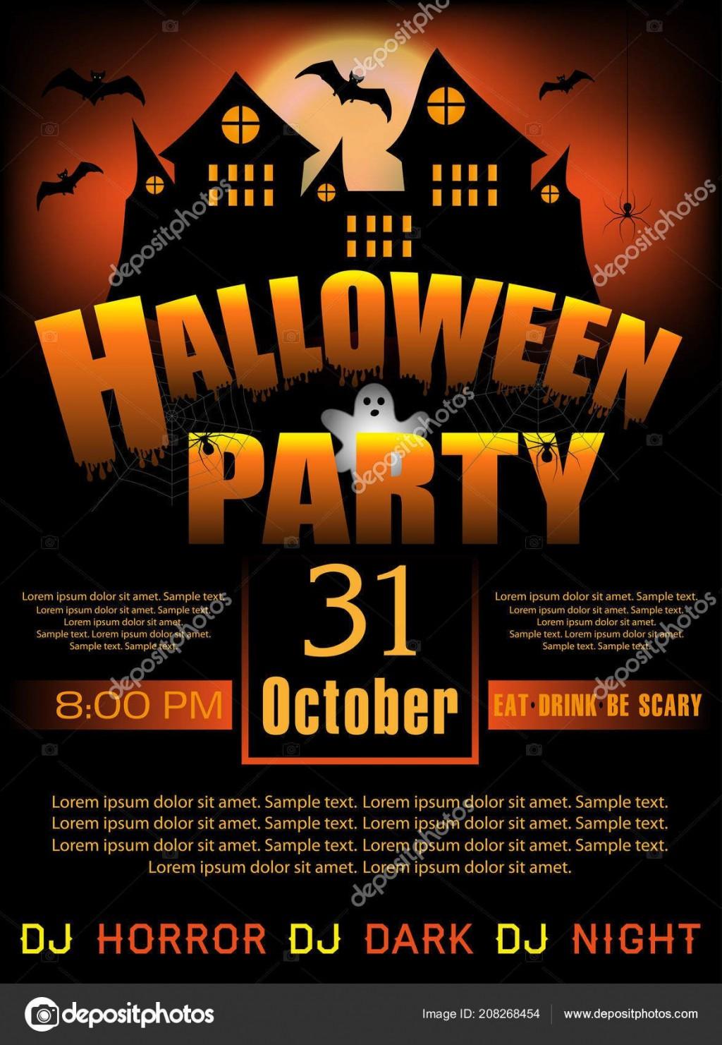 007 Shocking Halloween Party Invitation Template Image  Microsoft Block OctoberLarge