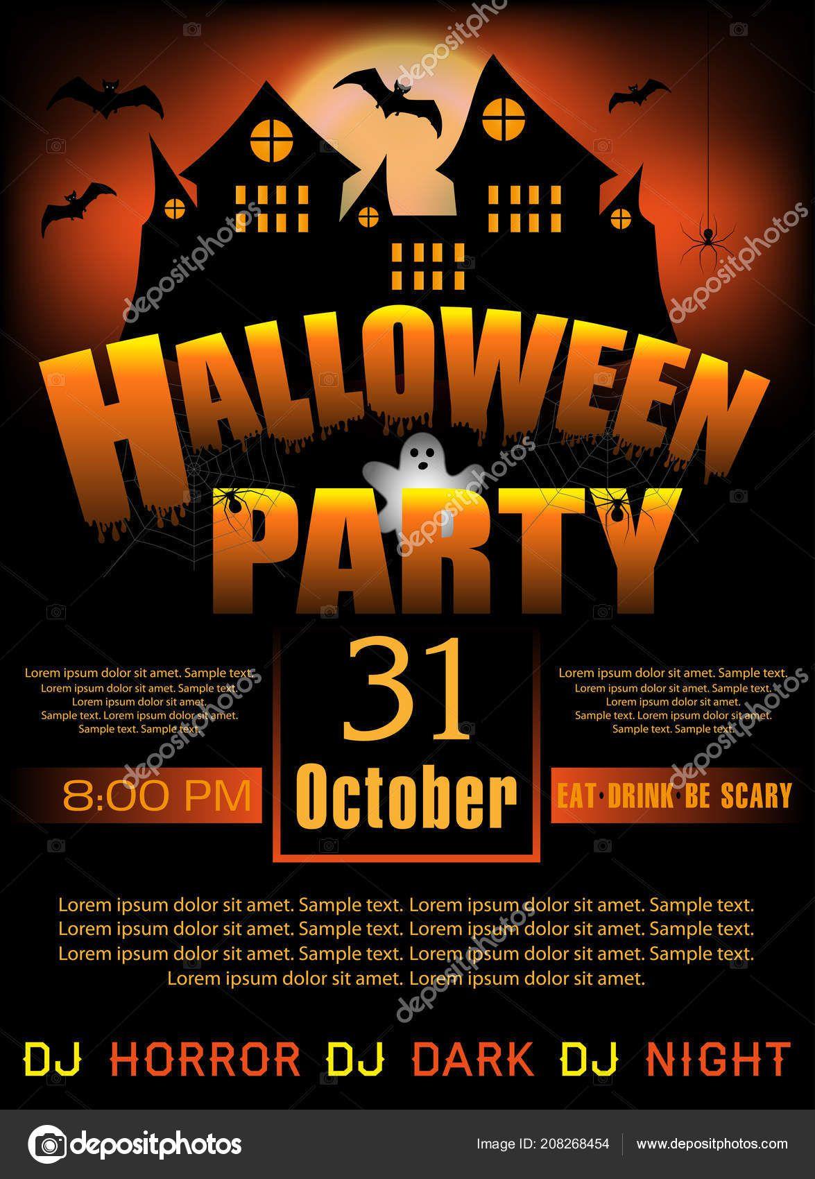 007 Shocking Halloween Party Invitation Template Image  Microsoft Block OctoberFull
