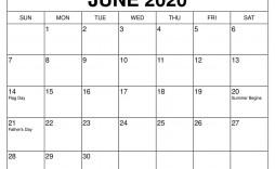 007 Shocking June 2020 Monthly Calendar Template Highest Clarity