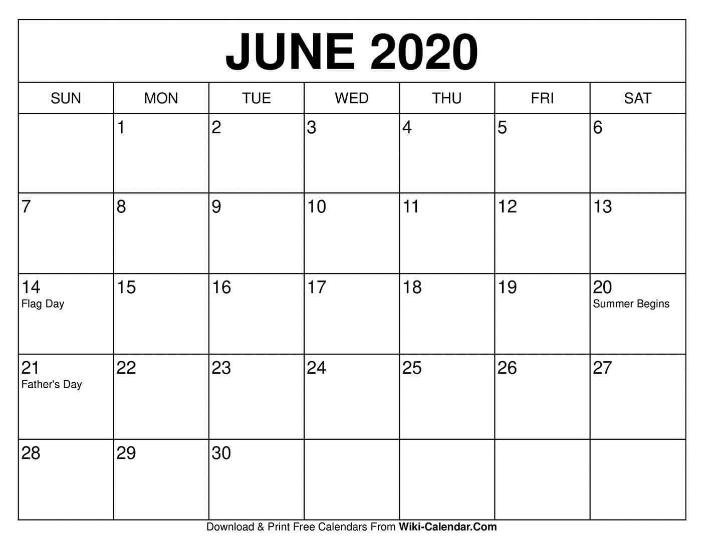 007 Shocking June 2020 Monthly Calendar Template Highest Clarity Full