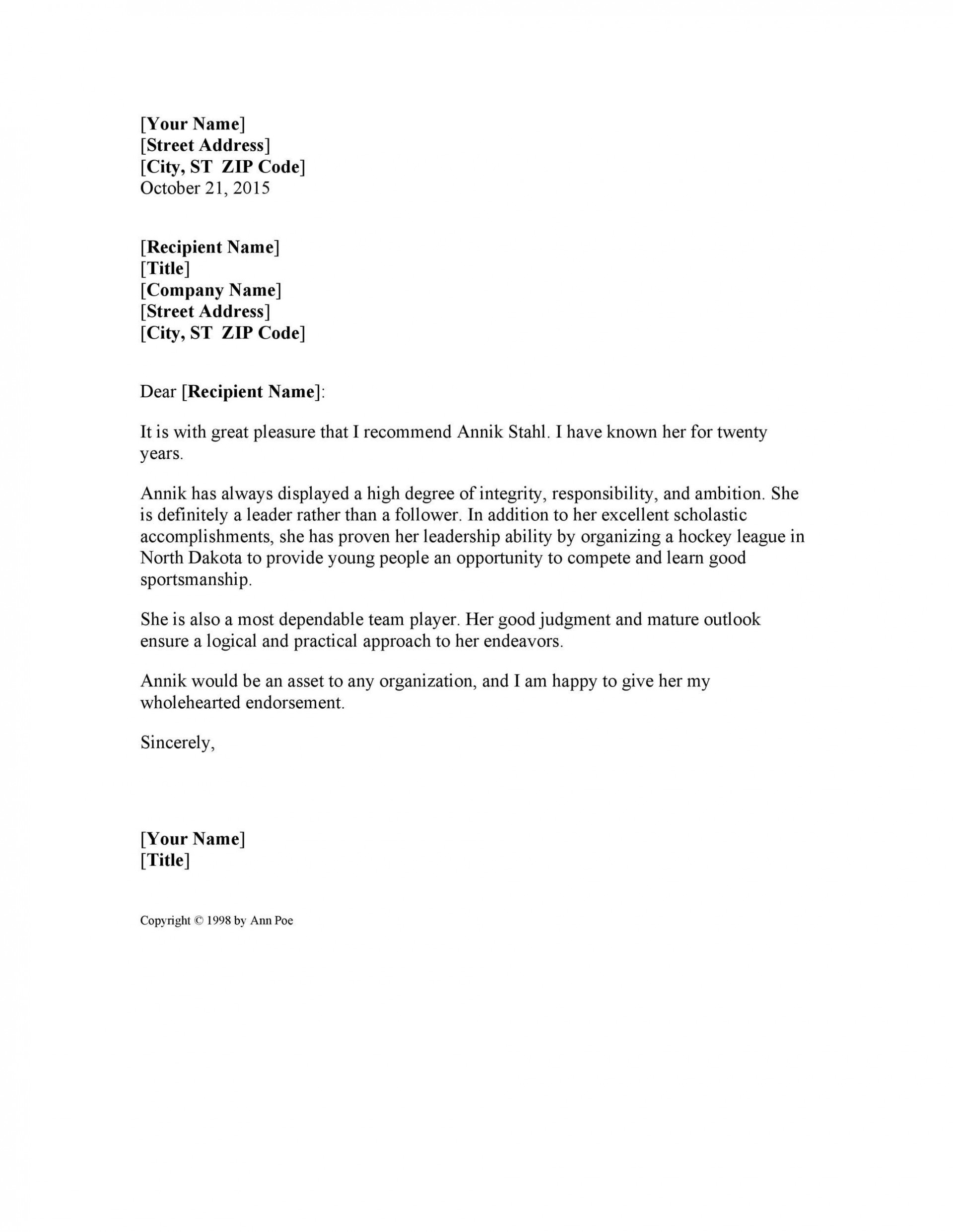 007 Shocking Personal Reference Letter Template Sample  Character Word For Rental Application1920