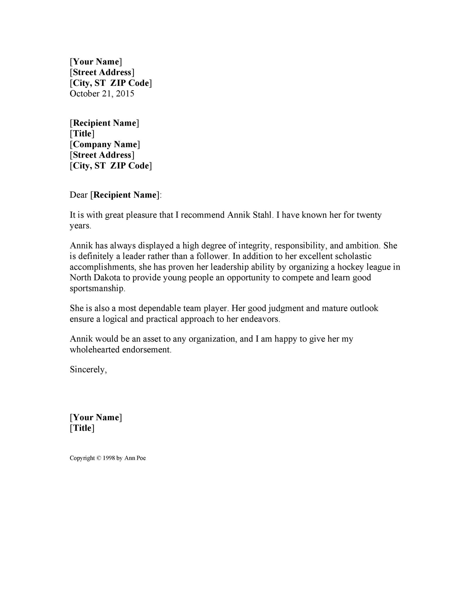 007 Shocking Personal Reference Letter Template Sample  Character Word For Rental ApplicationFull