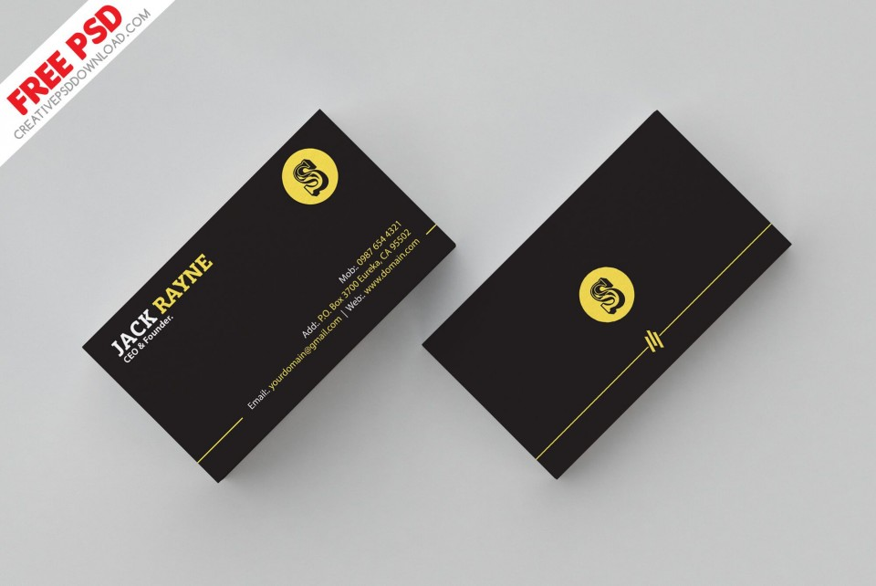 007 Shocking Simple Busines Card Template Psd Highest Quality  Design In Photoshop Minimalist Free960