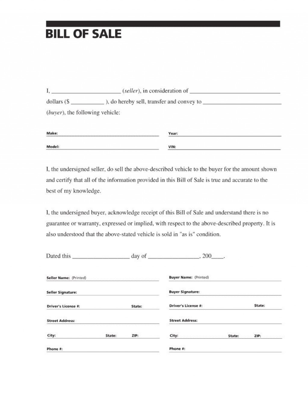 007 Simple Auto Bill Of Sale Template Picture  Word Free Texa Form Pdf Vehicle Fillable CanadaLarge