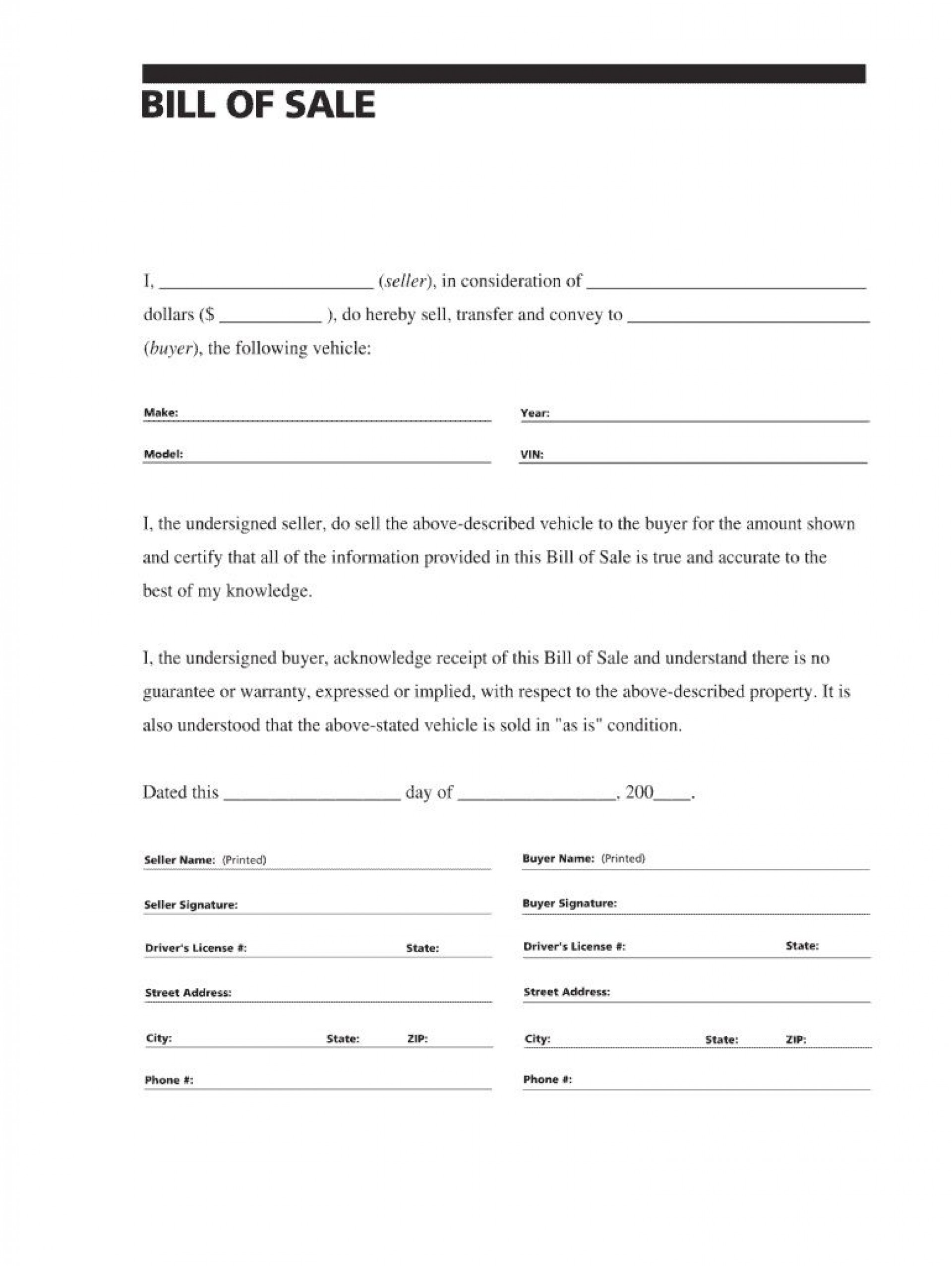 007 Simple Auto Bill Of Sale Template Picture  Word Free Texa Form Pdf Vehicle Fillable Canada1920