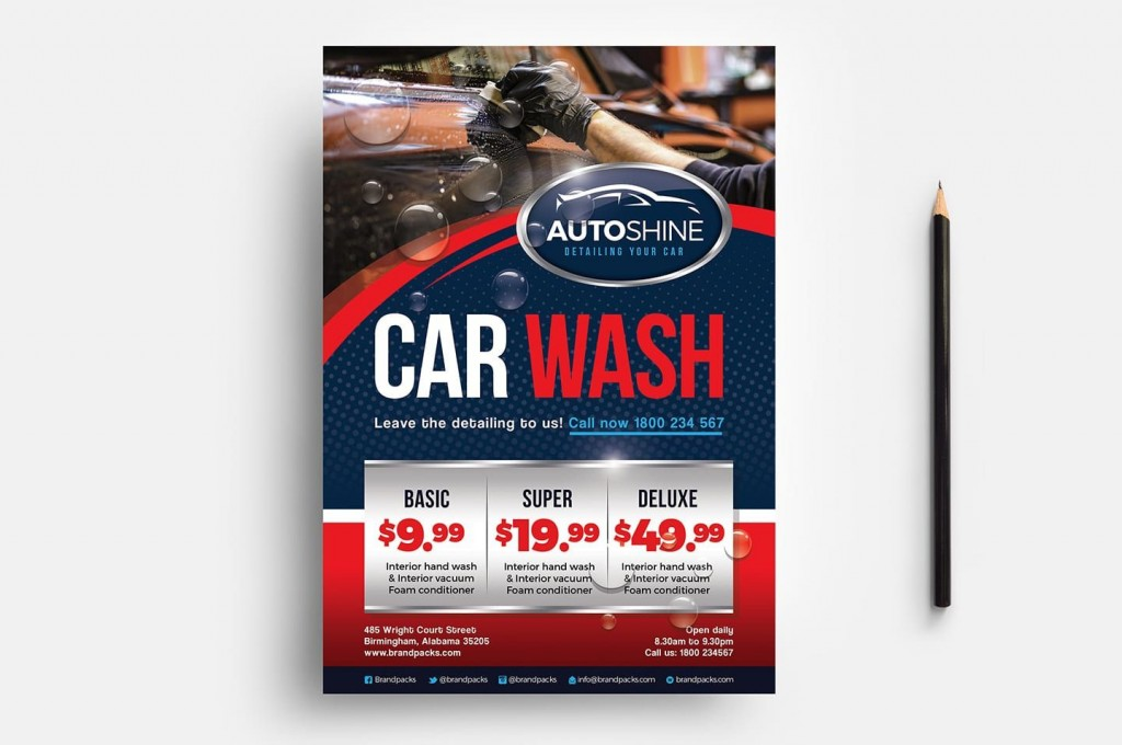 007 Simple Car Wash Flyer Template Design  Free Fundraiser DownloadLarge