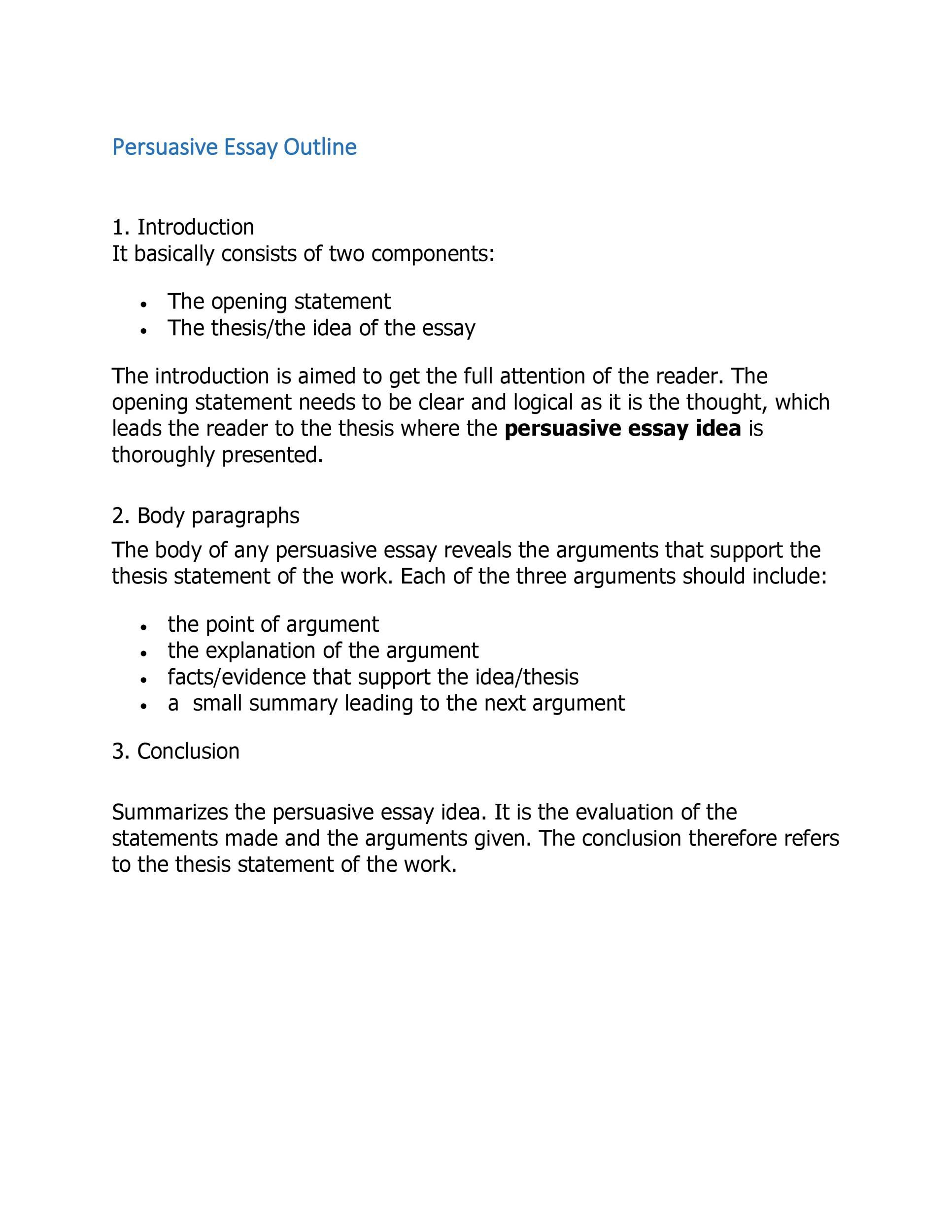 007 Simple College Persuasive Essay Outline Template Image Full