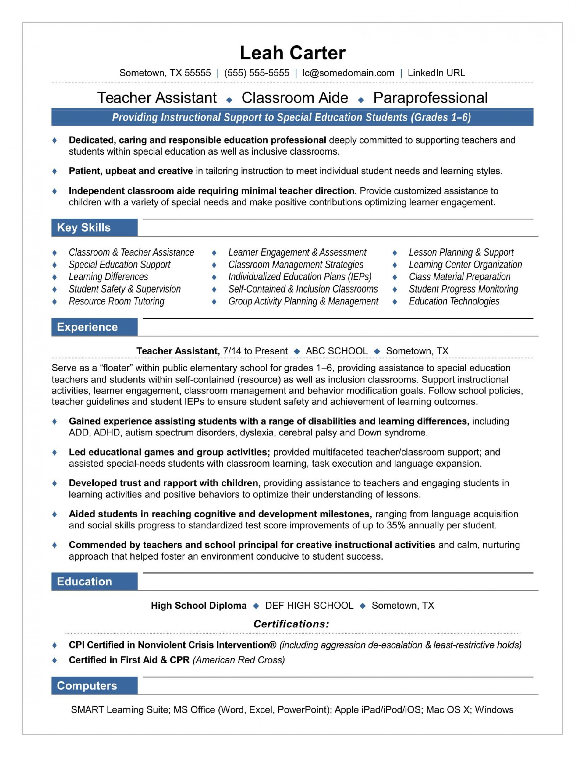 007 Simple Cv Template For Teaching Highest Clarity  Sample Teacher Assistant Modern Word Free Download Job1920