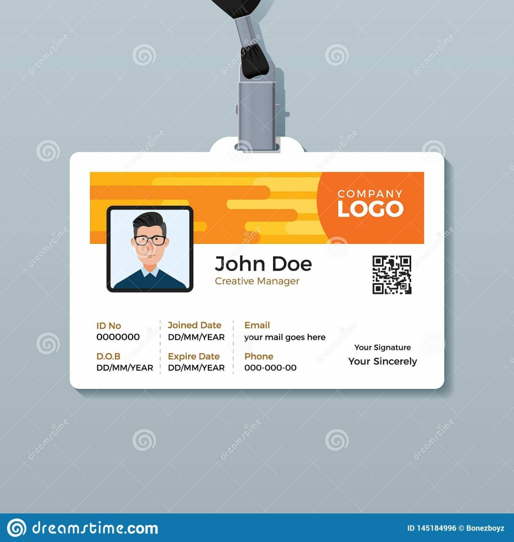 007 Simple Employee Id Card Template High Definition  Free Download Psd WordLarge