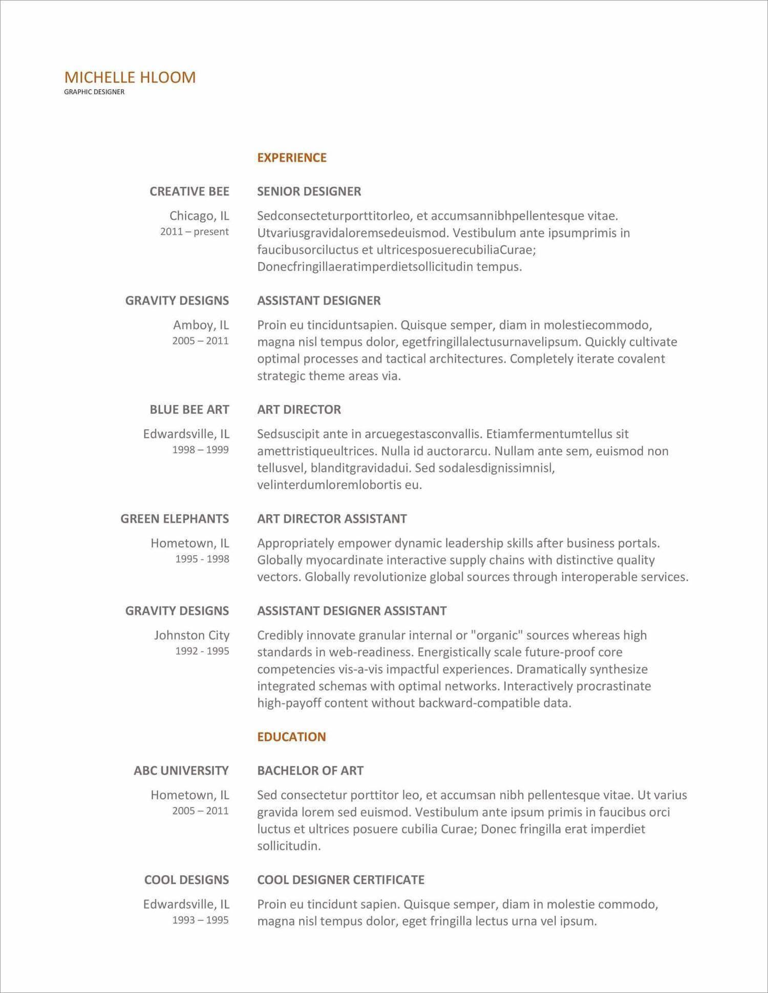 007 Simple Free Printable Resume Template Australia Sample Full