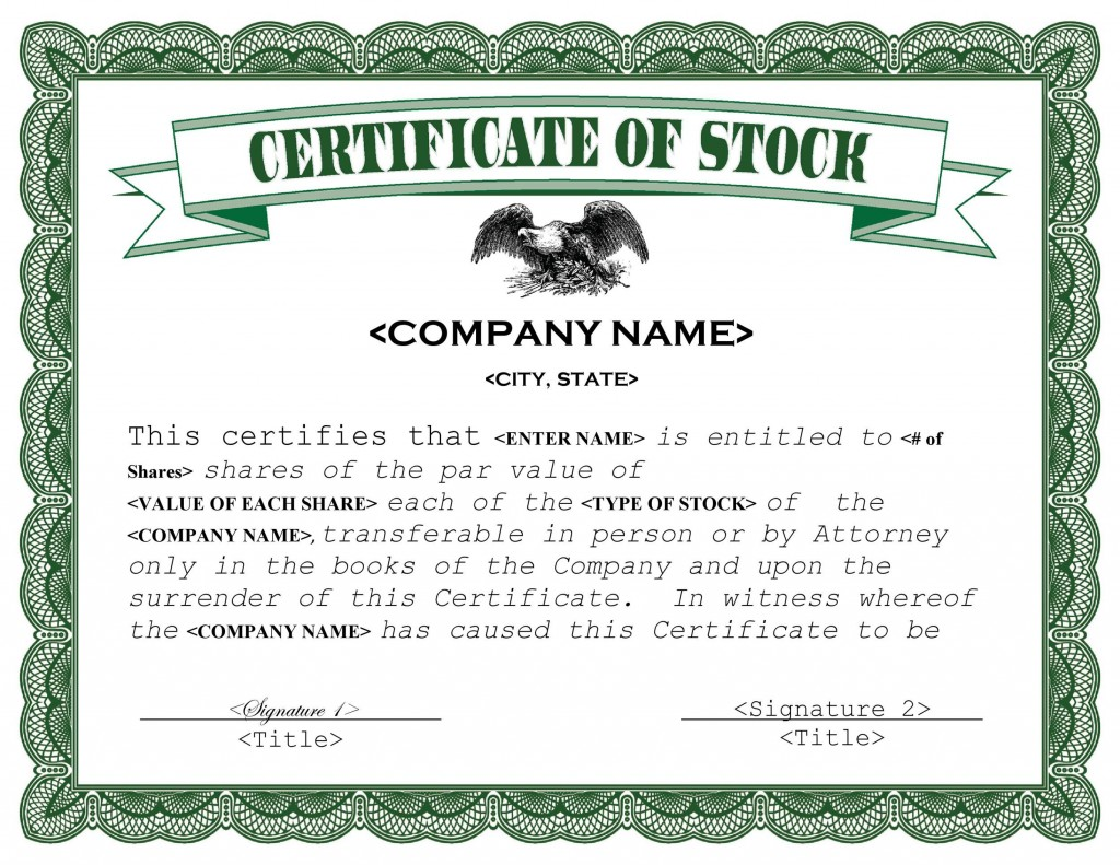 007 Simple Free Stock Certificate Template Sample  Word Form DownloadableLarge