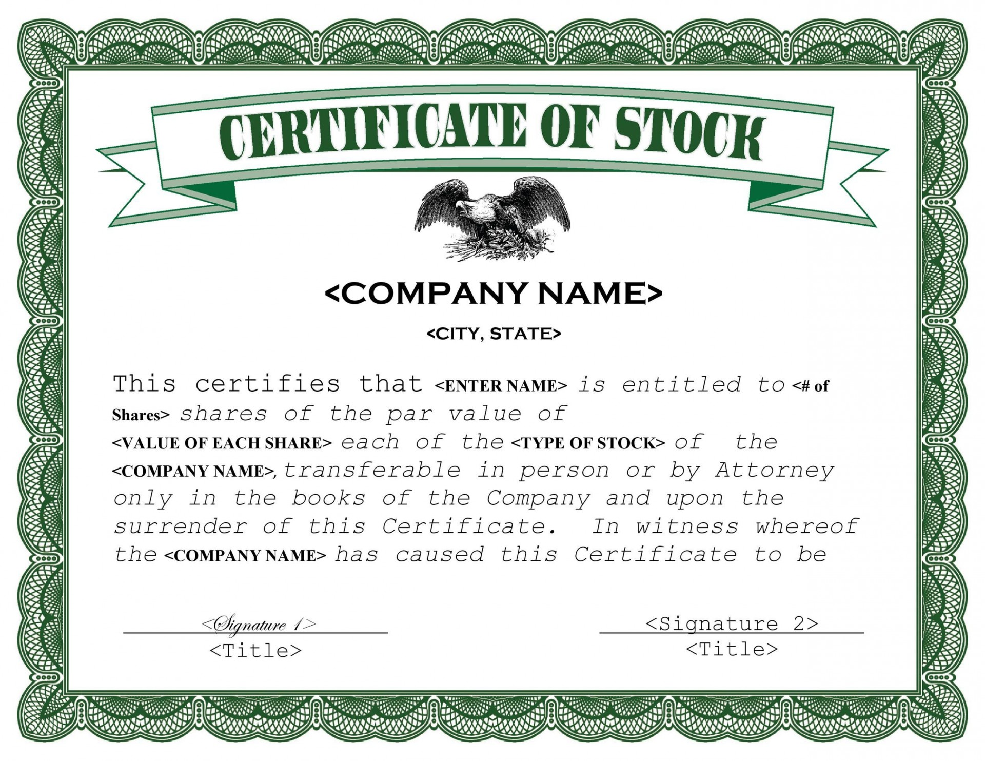 007 Simple Free Stock Certificate Template Sample  Word Form Downloadable1920