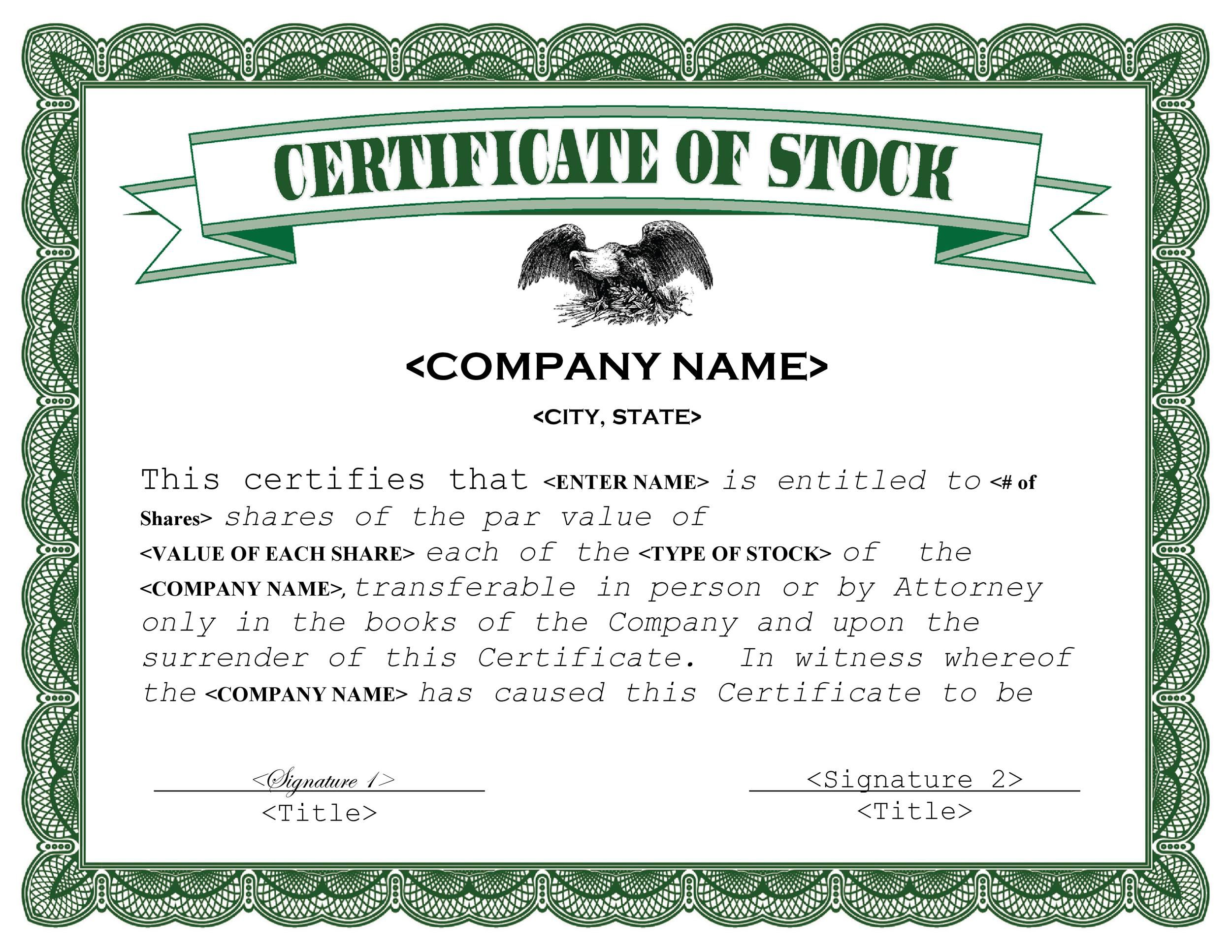 007 Simple Free Stock Certificate Template Sample  Word Form DownloadableFull