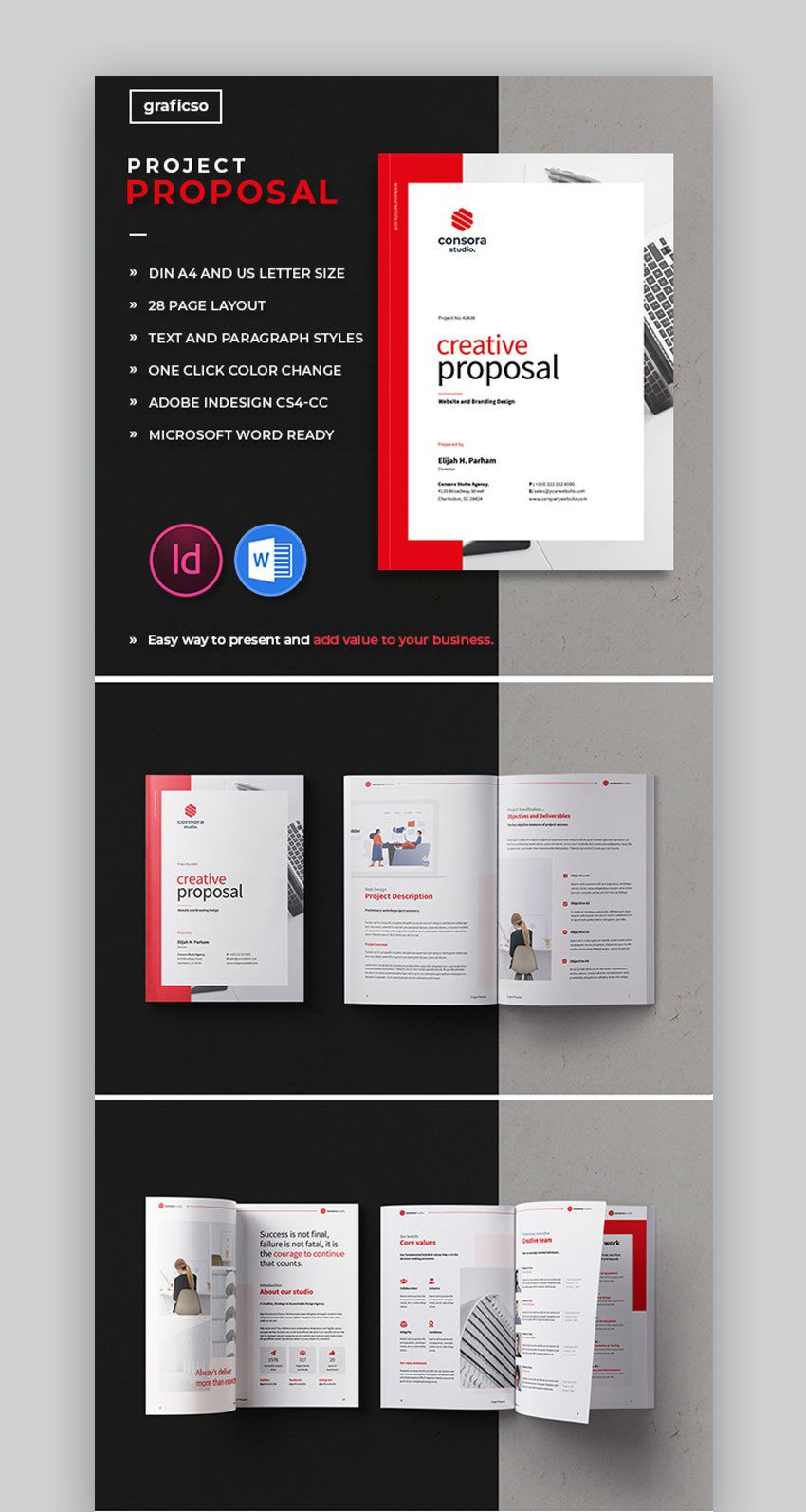 007 Simple Graphic Design Proposal Template Doc Free Concept Full