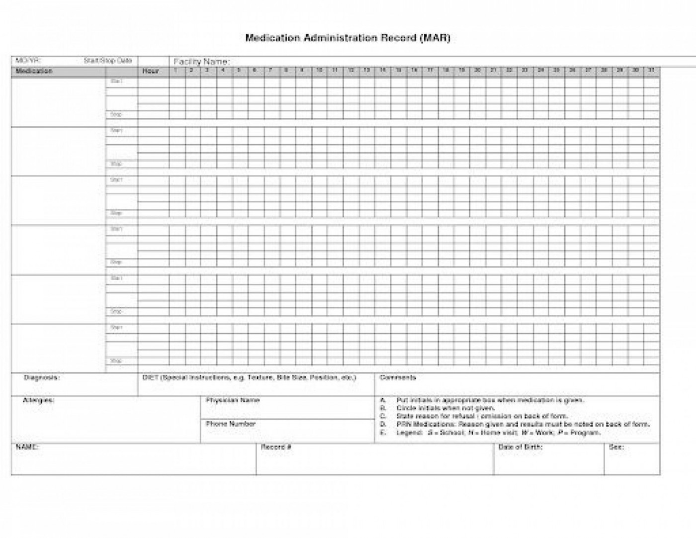 007 Simple Medication Administration Record Form Download High Def 1400
