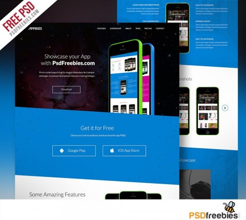 007 Simple One Page Website Template Psd Free Download Sample 480