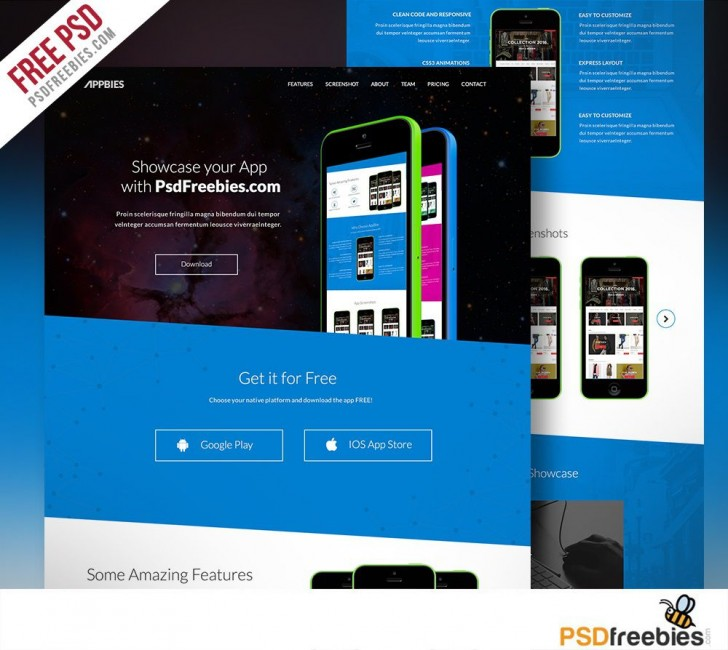 007 Simple One Page Website Template Psd Free Download Sample 728