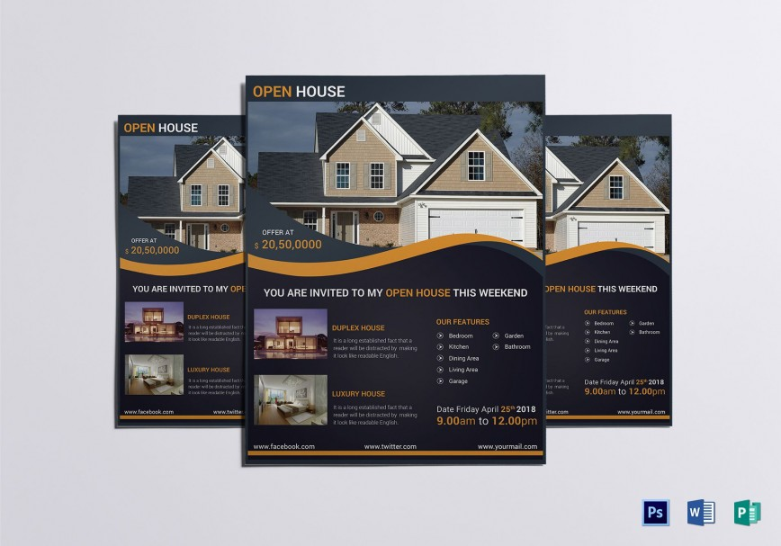 007 Simple Open House Flyer Template High Def  Word Free School Microsoft868
