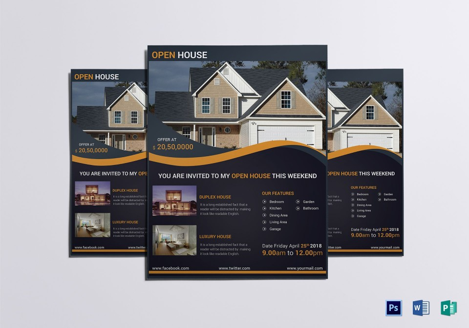 007 Simple Open House Flyer Template High Def  Word Free School Microsoft960