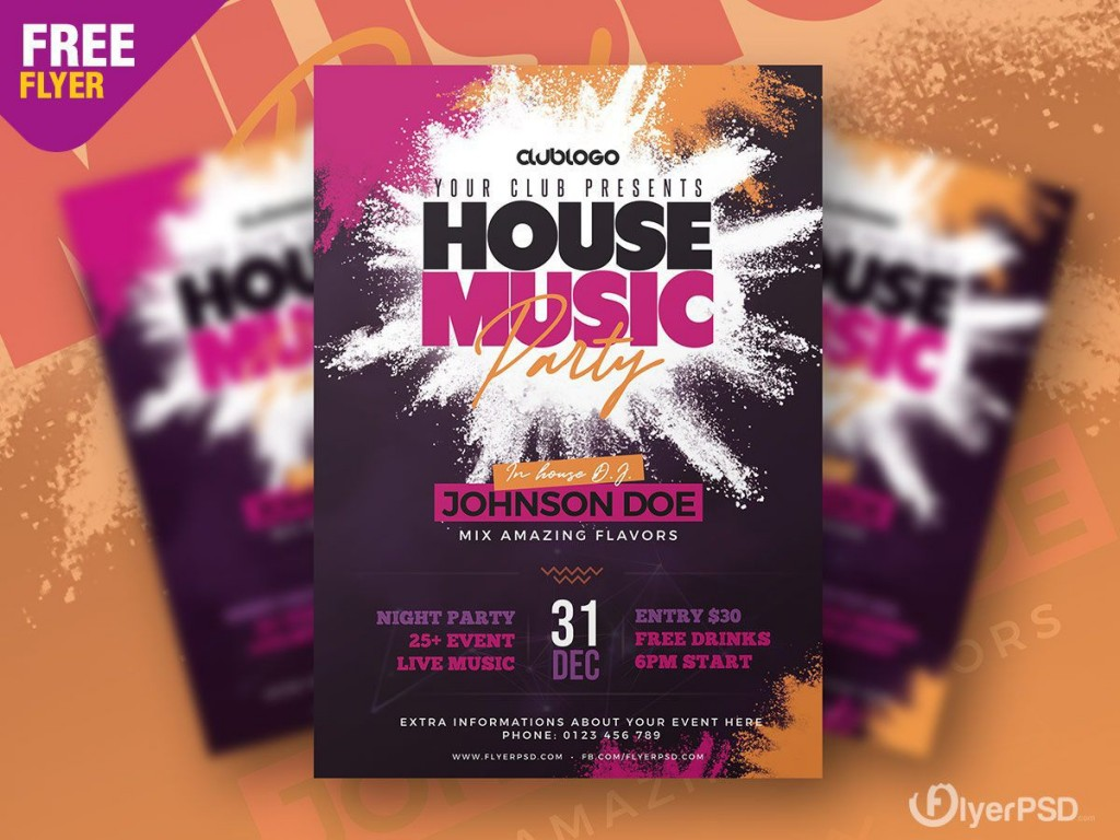007 Simple Party Flyer Psd Template Free Download Example  RaveLarge