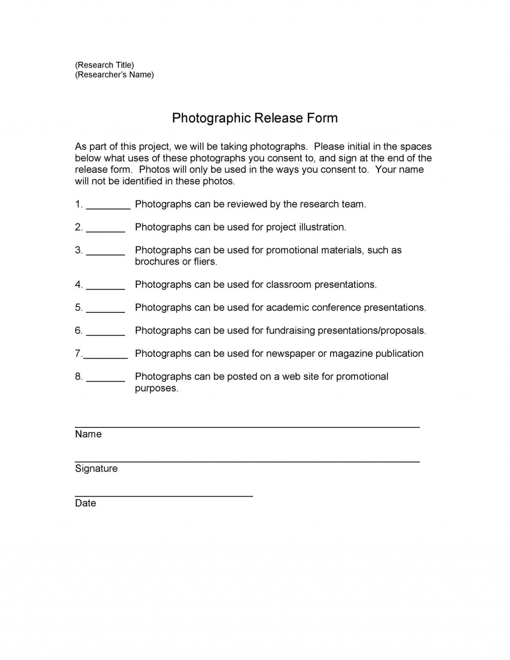 007 Simple Photography Release Form Template Highest Clarity  Image Australia CanadaLarge