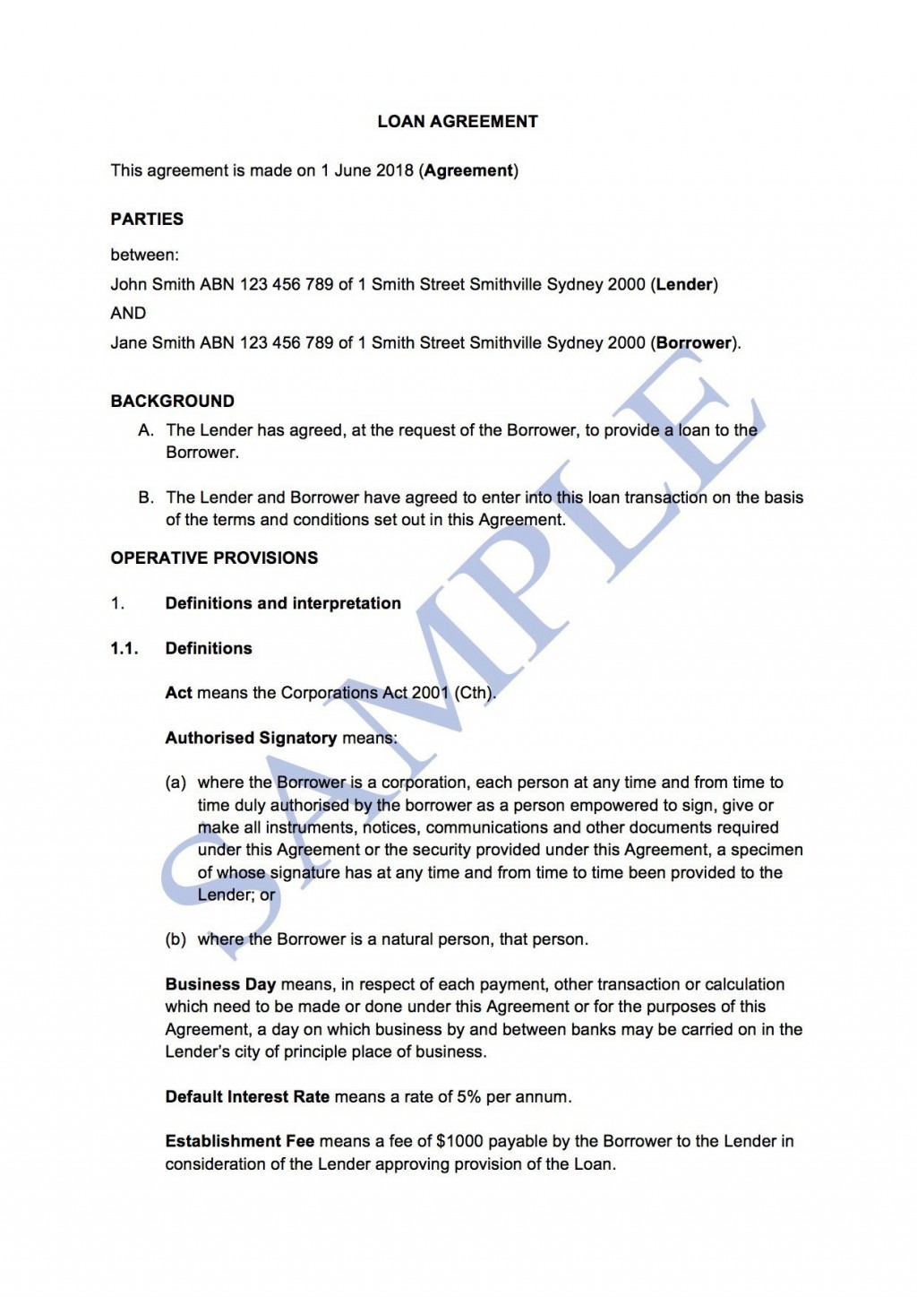 007 Simple Family Loan Agreement Template Australia Highest Clarity Large