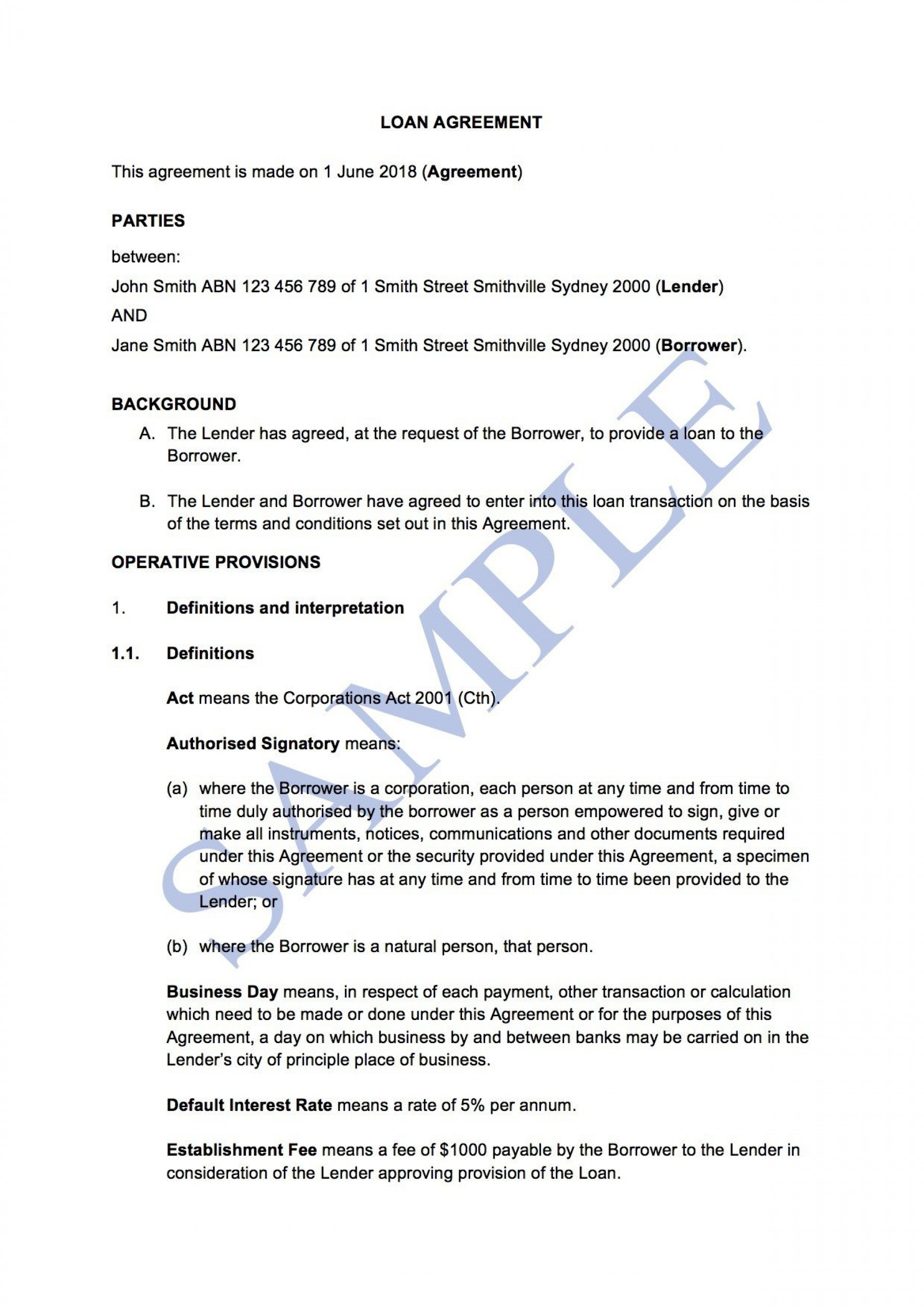 007 Simple Family Loan Agreement Template Australia Highest Clarity 1920
