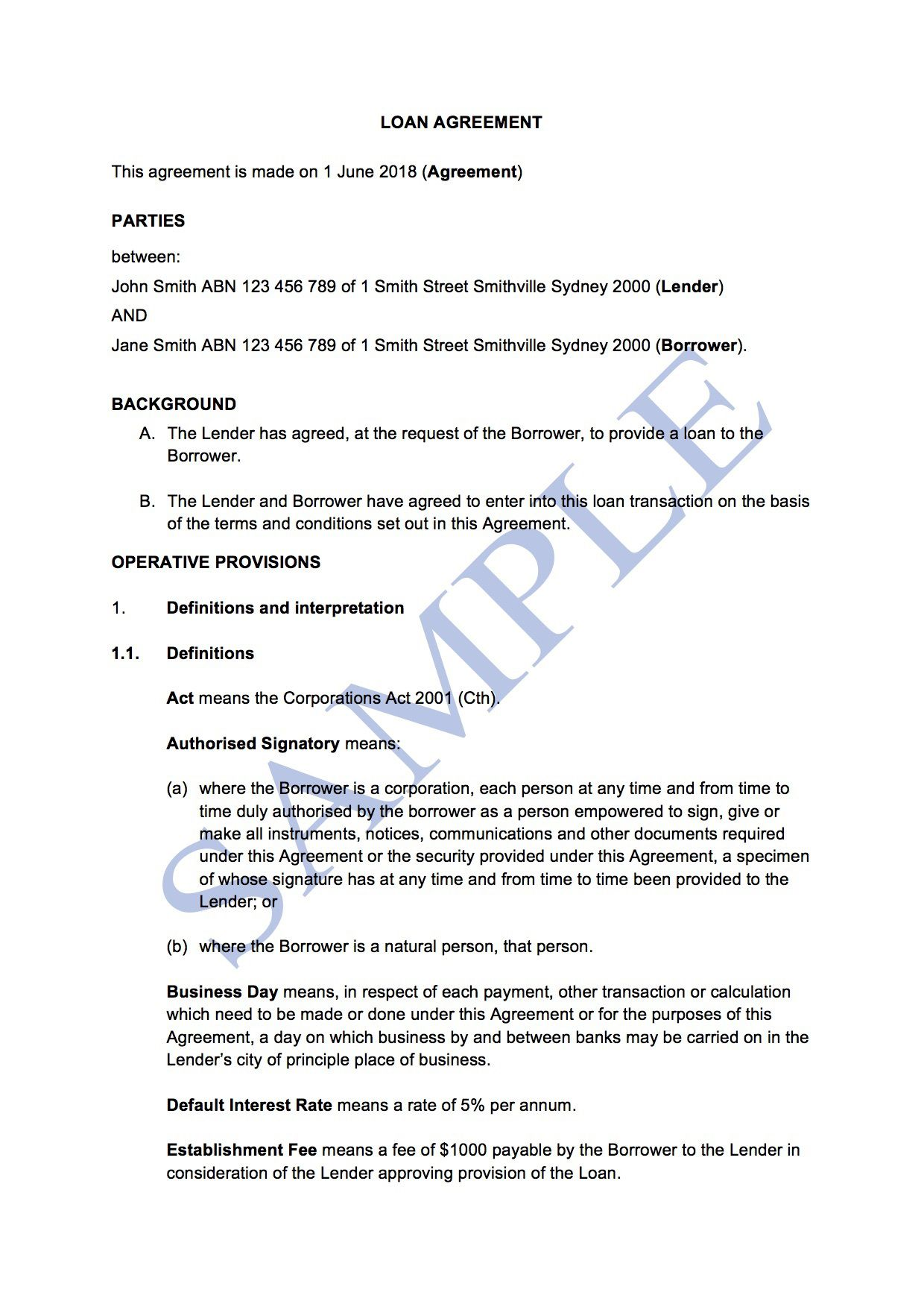 007 Simple Family Loan Agreement Template Australia Highest Clarity Full