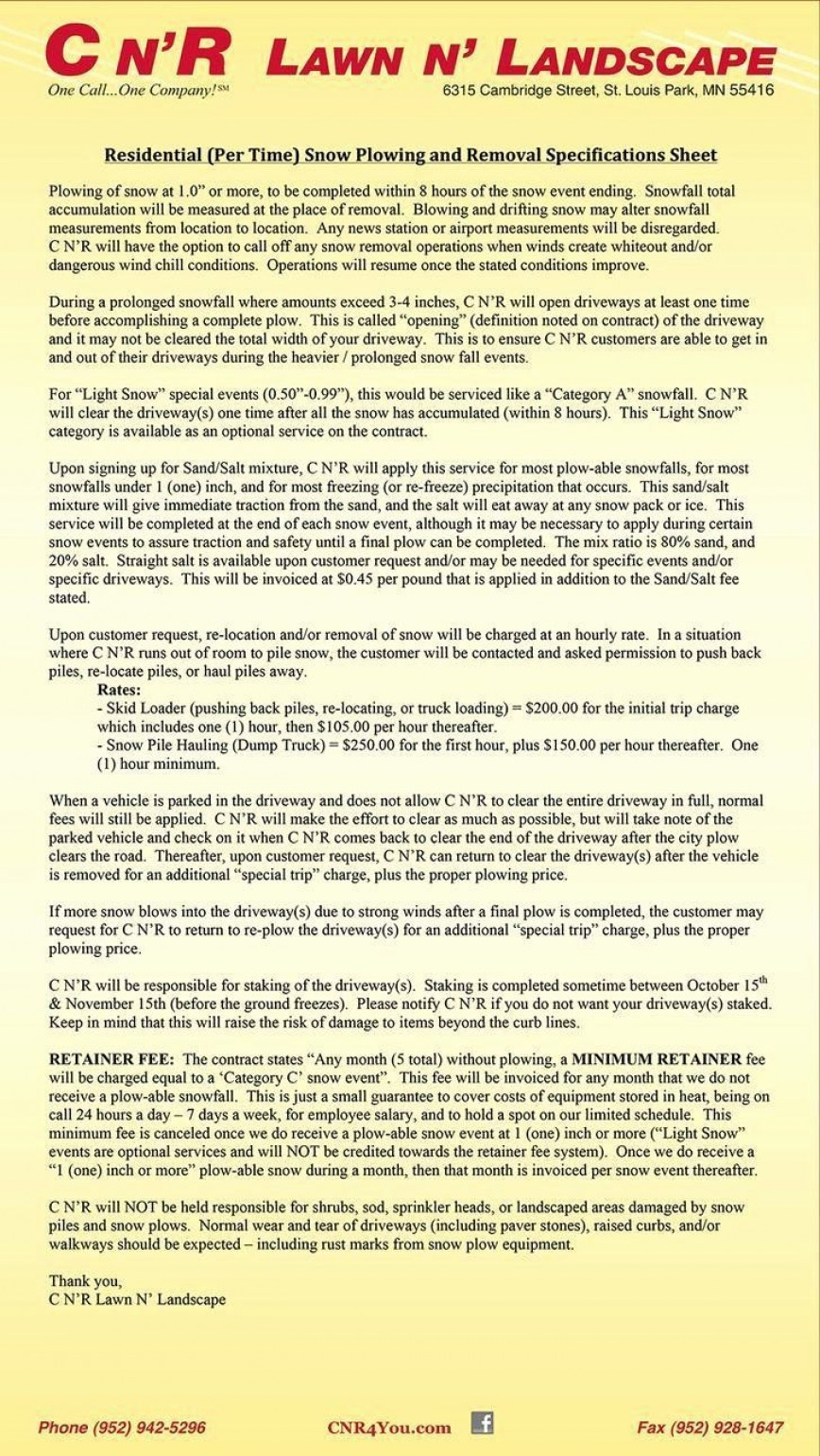 007 Simple Snow Removal Contract Template Highest Clarity  Templates Plow Pdf Clearing