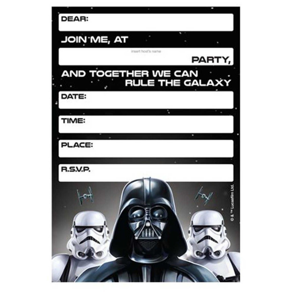 007 Simple Star War Birthday Invitation Template High Definition  Free Party PrintableLarge