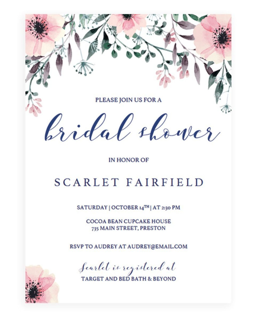 007 Simple Wedding Shower Invitation Template Photo  Templates Bridal Pinterest Microsoft Word Free ForLarge