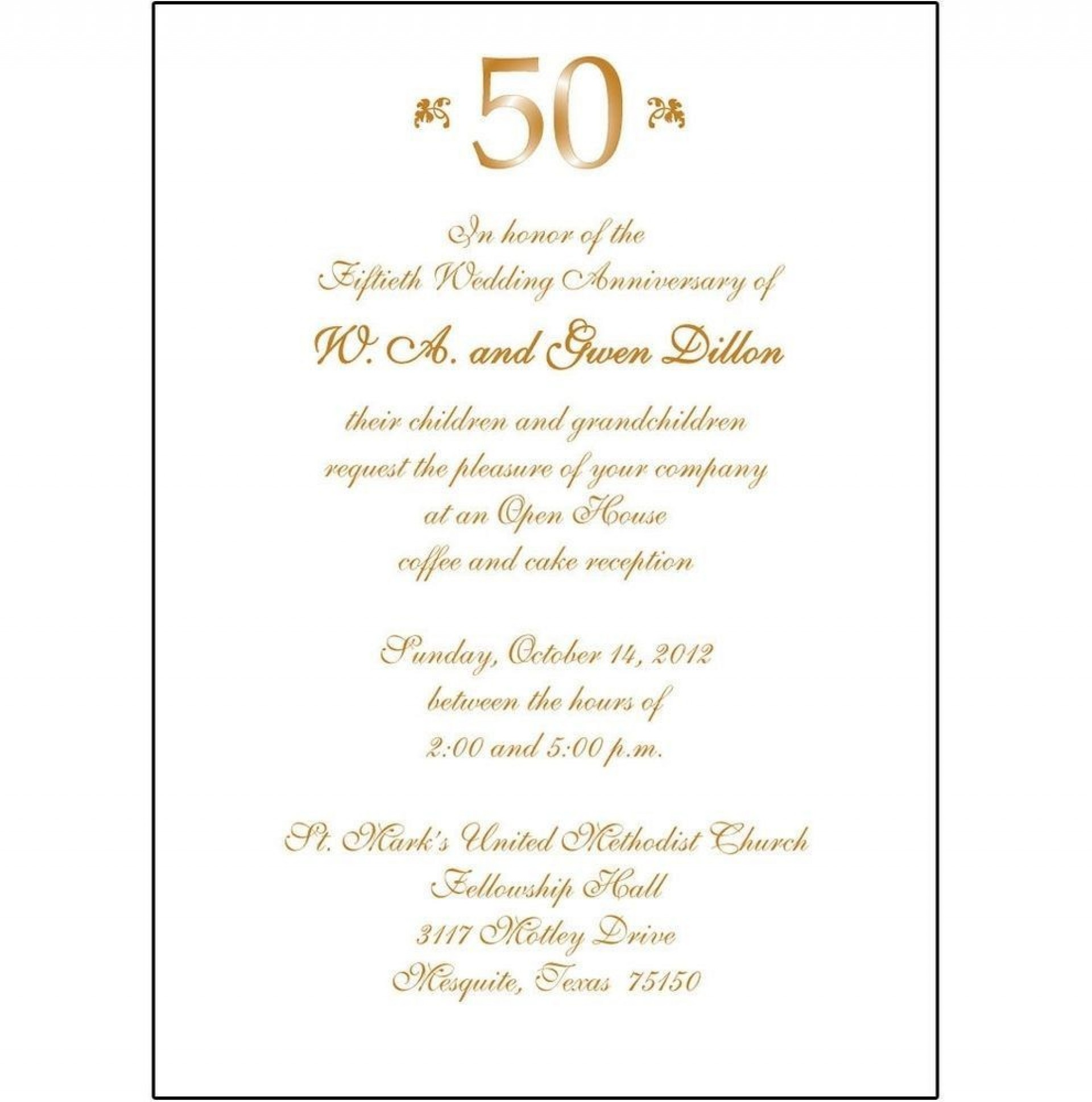 007 Singular 50th Anniversary Invitation Template Idea  Templates Wedding Free Download Golden1920