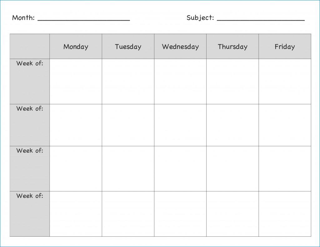 007 Singular Blank Weekly Lesson Plan Template Example  Printable Pdf Free EditableLarge