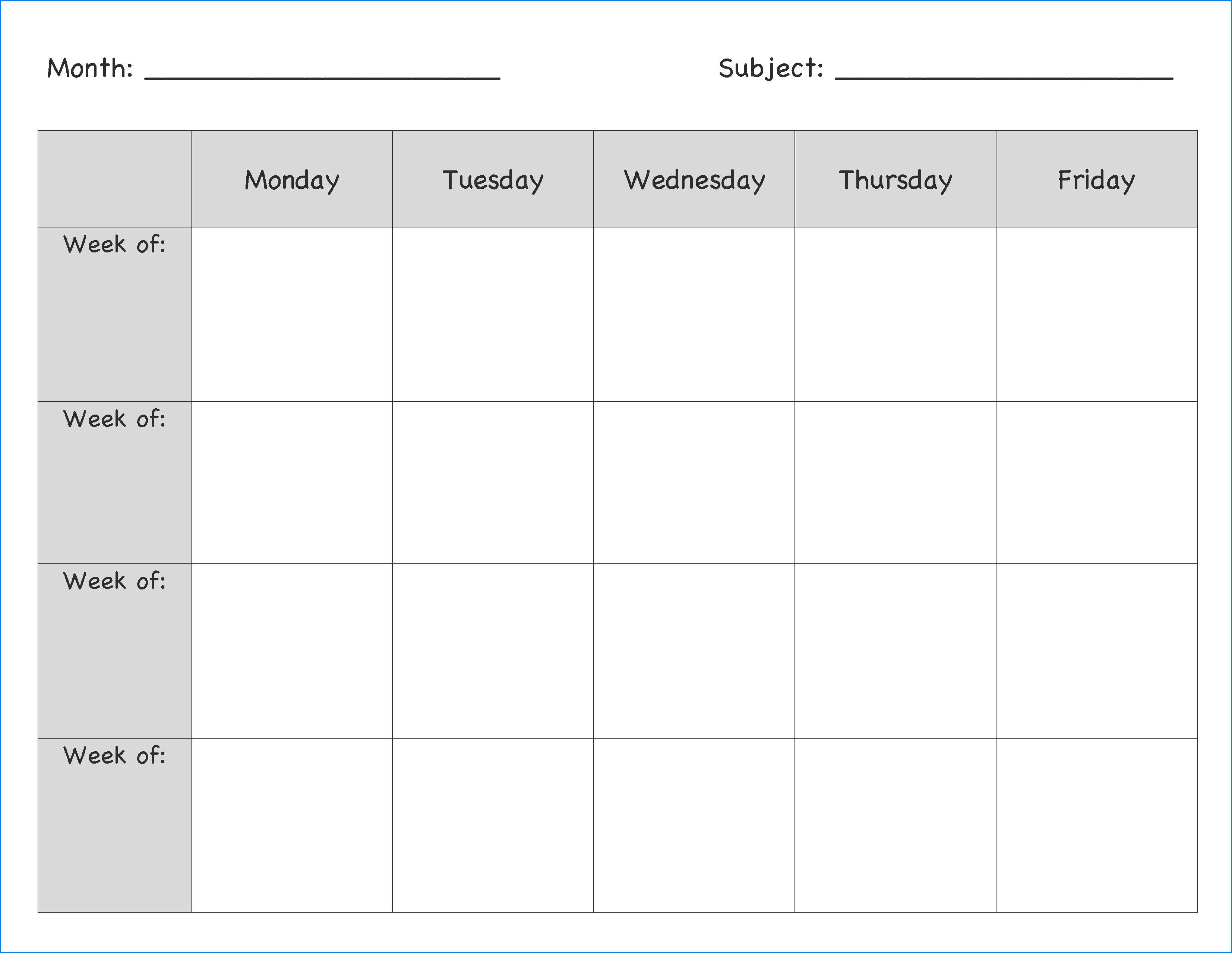 007 Singular Blank Weekly Lesson Plan Template Example  Printable Pdf Free EditableFull