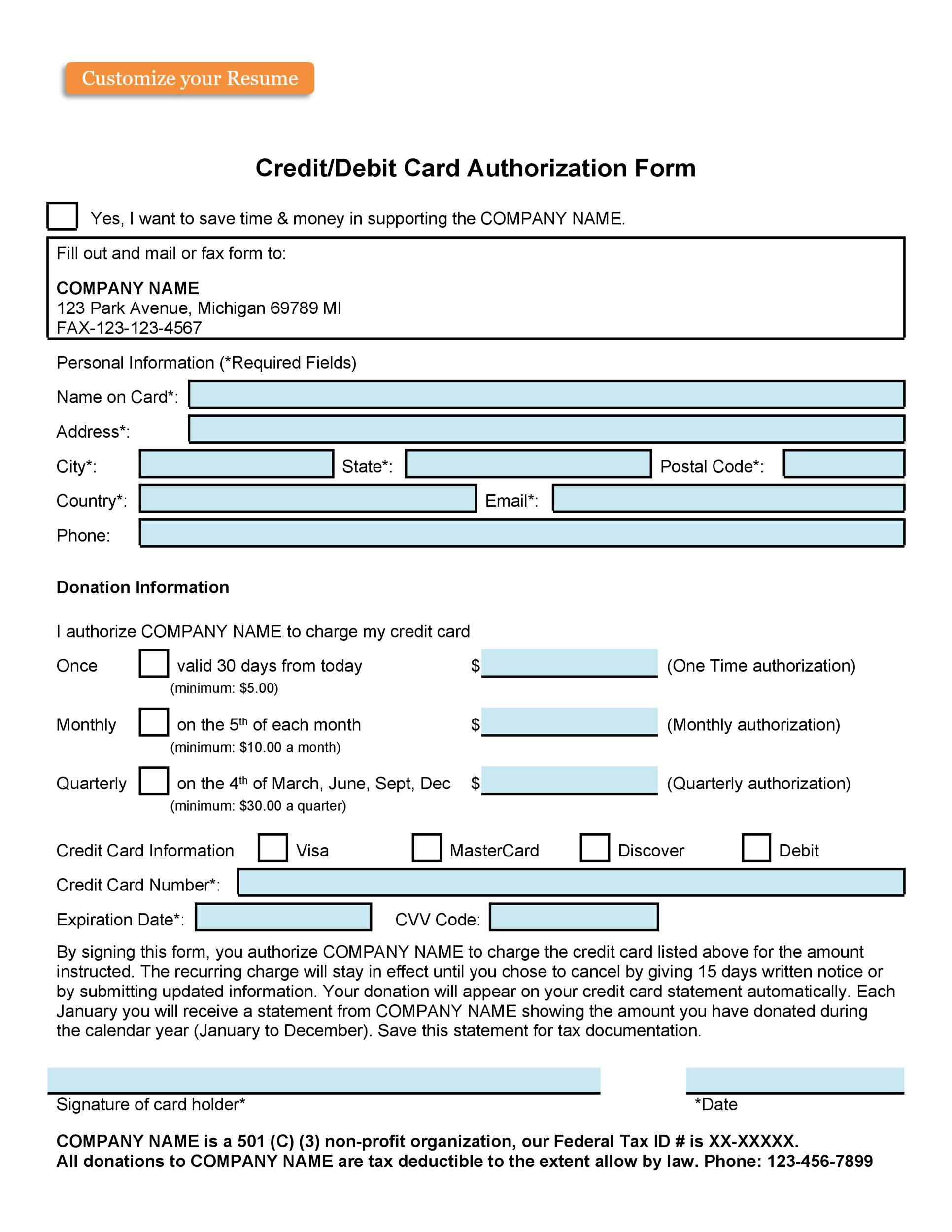 007 Singular Credit Card Form Template Excel Inspiration  Authorization PaymentFull