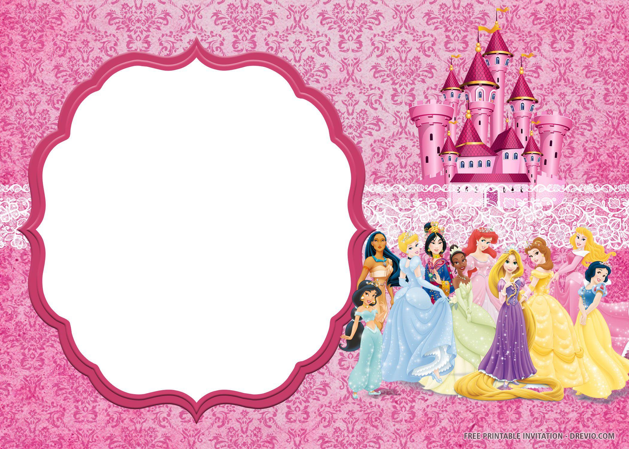 007 Singular Disney Princes Invitation Template Idea  Downloadable Party Free Printable BirthdayFull