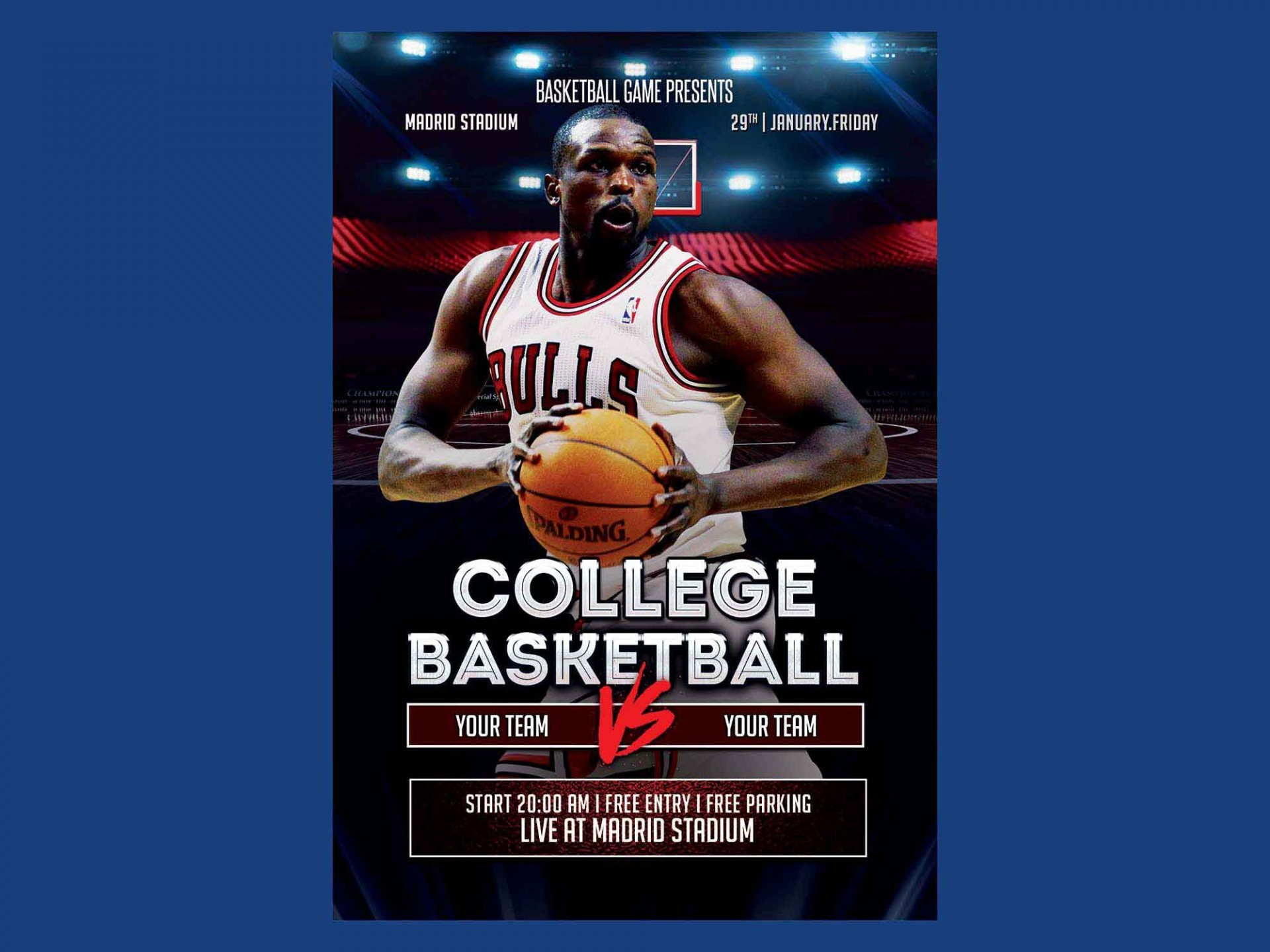 007 Singular Free Basketball Flyer Template Sample  Game 3 On Tournament Word1920