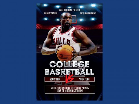 007 Singular Free Basketball Flyer Template Sample  Game 3 On Tournament Word480