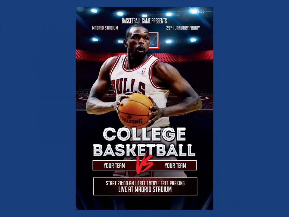 007 Singular Free Basketball Flyer Template Sample  Game 3 On Tournament Word960