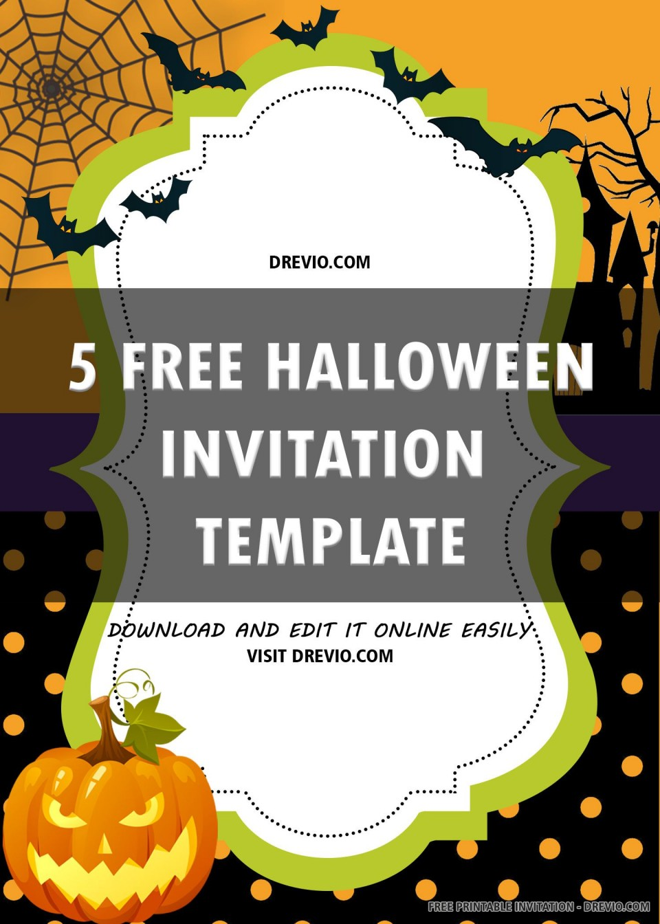 007 Singular Free Halloween Invitation Template Printable Concept  Birthday Party960