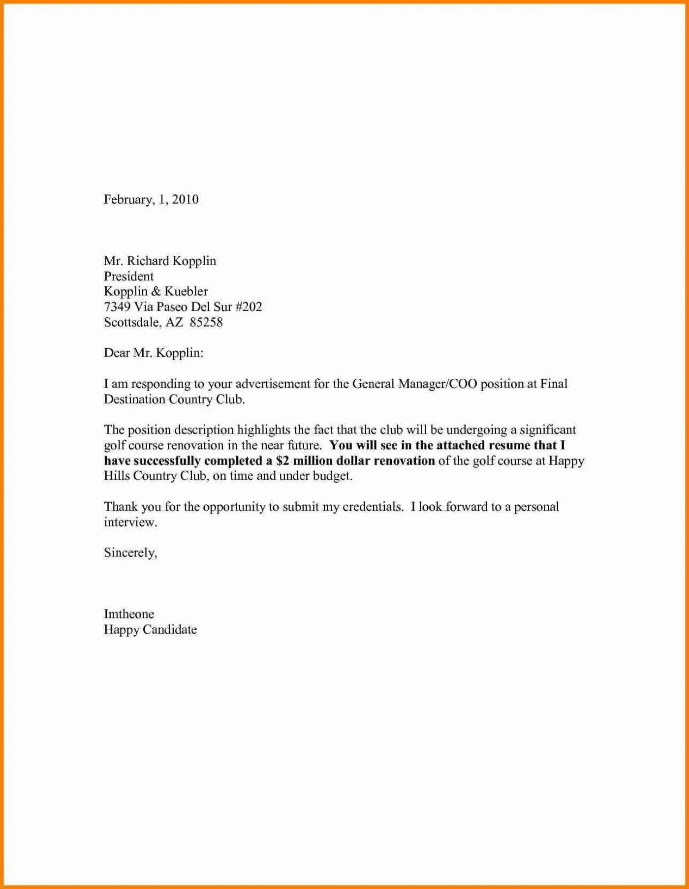 007 Singular Generic Cover Letter For Resume Highest Clarity  General Example1400