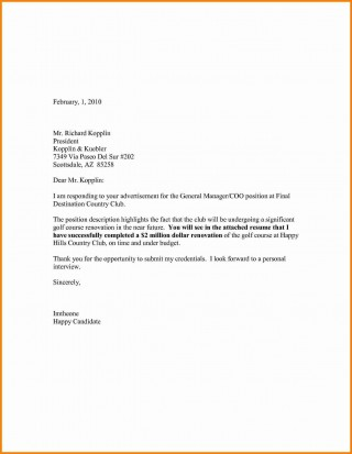 007 Singular Generic Cover Letter For Resume Highest Clarity  General Example320