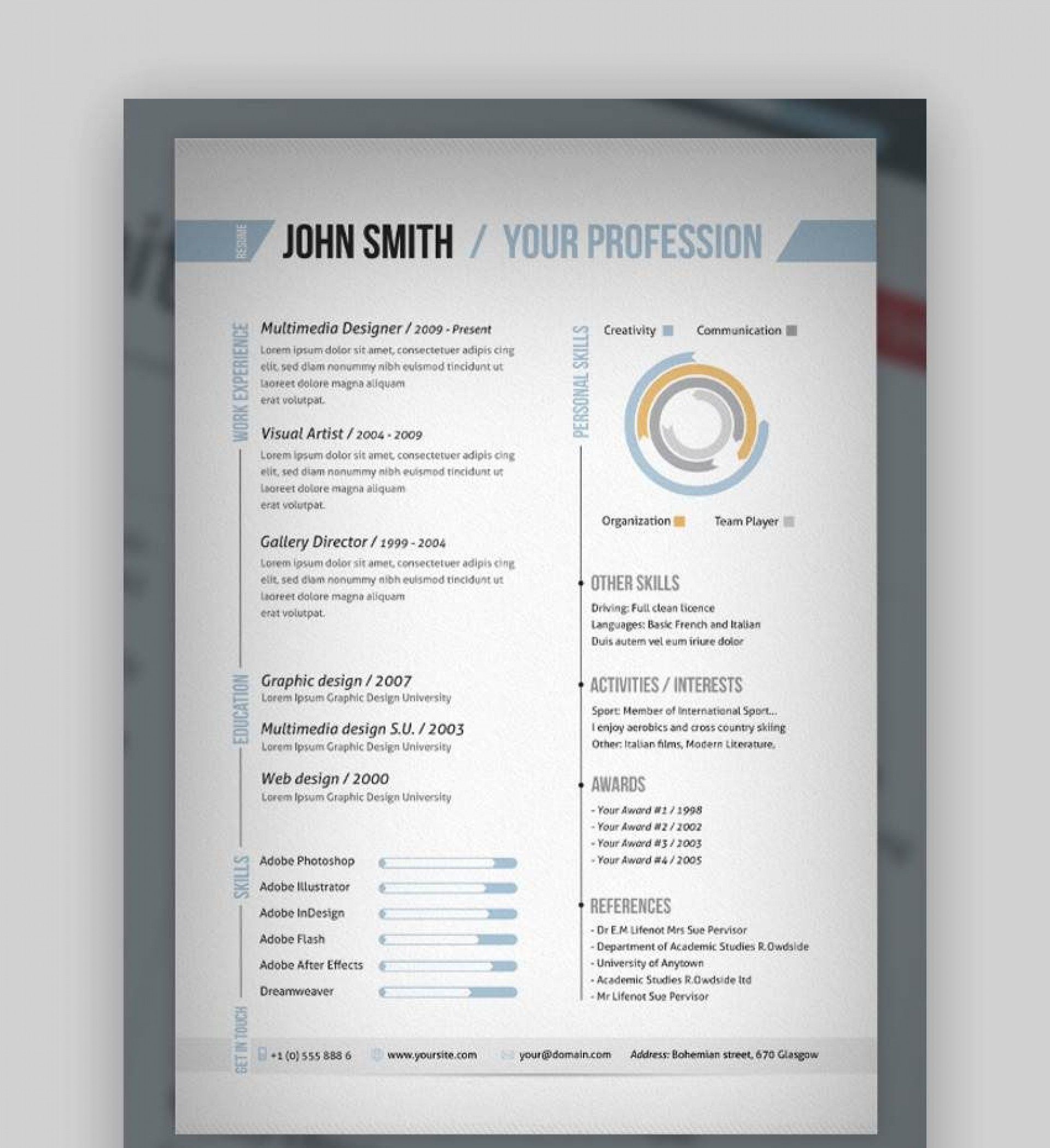007 Singular One Page Resume Template Photo  Templates Microsoft Word Free1920