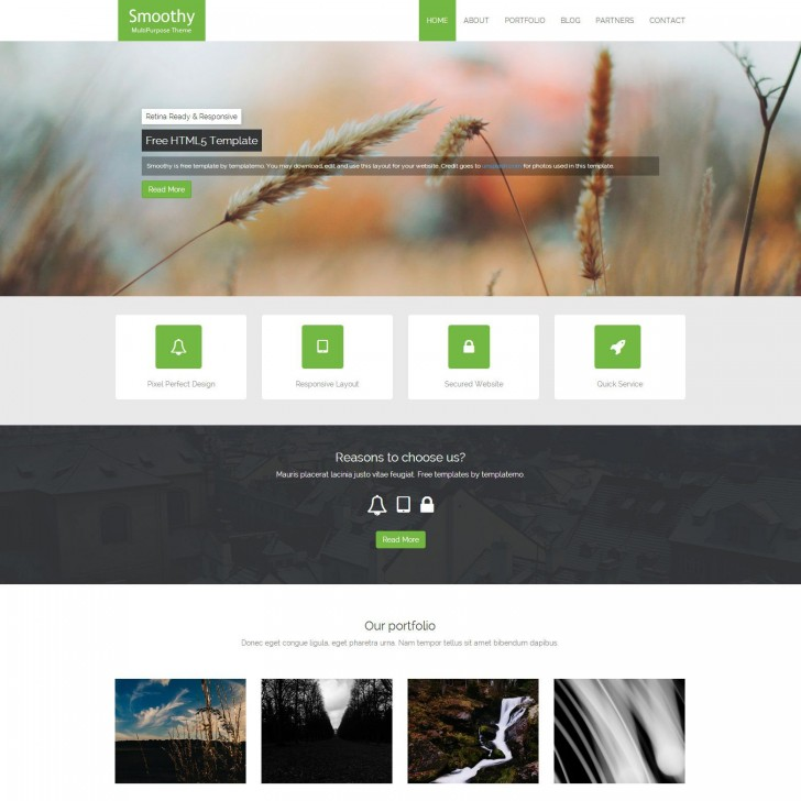 007 Singular One Page Website Template Html5 Responsive Free Download Sample 728