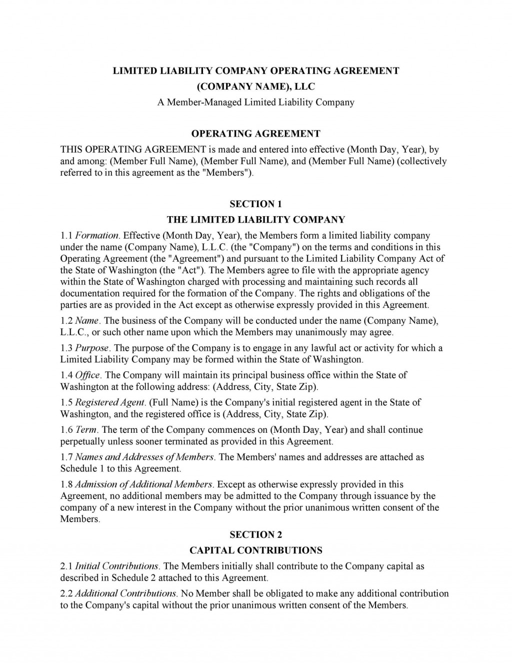 007 Singular Operating Agreement Template For Llc High Resolution  Form Florida TexaLarge