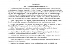 007 Singular Operating Agreement Template For Llc High Resolution  Form Florida Texa