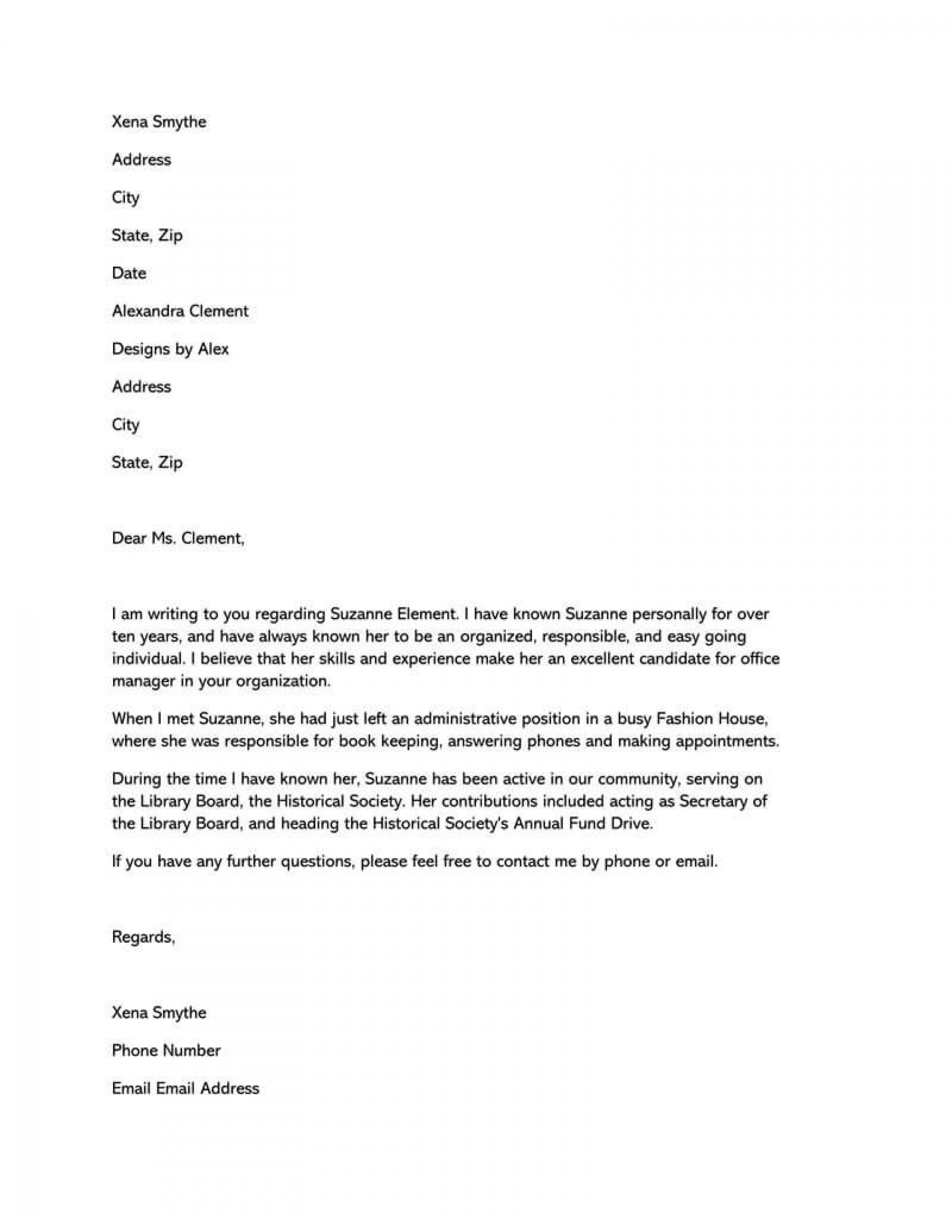 007 Singular Personal Reference Letter Of Recommendation Template Sample  Character1920