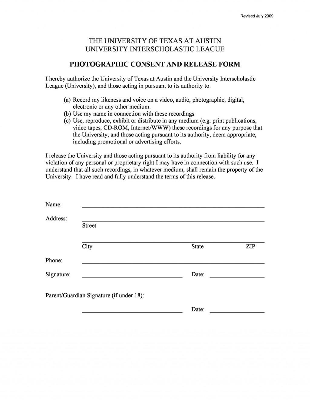 007 Singular Photo Release Form Template Idea  Video Consent Australia Free AndLarge